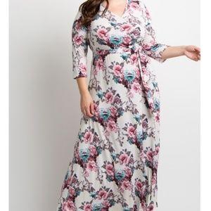 EUC Pinkblush maxi dress floral roses long XL cute